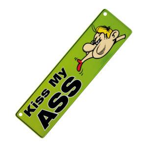 Metallskylt för bil / barnvagn - Kiss my ass