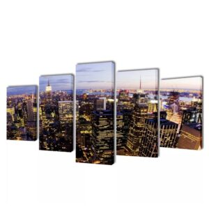 Canvastavla - New York - Horisont - 5 delar